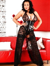 Mistress Danica in latex girdle, lace and stockings