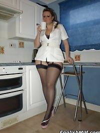 Curvy Nurse strips to her stockings after hard day at work