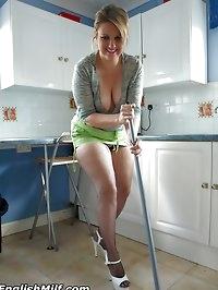 Slutty housewife Daniella in mini skirt and fishnet..