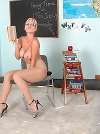 Sexy teacher in pantyhose and heels