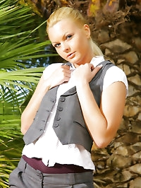 Amazing blonde Sandra in a tight grey short suit with..