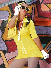 Girlie rocks her yellow outfit