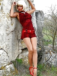 Leggy whore in thin pantyhose and high heels