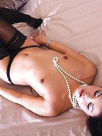 Sluts love the Sexy white fish net stockings