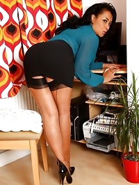 Danica teases in her short skirt and stockings