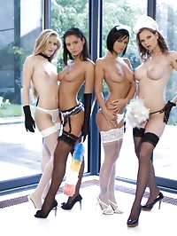 Four sexy maids ready to do their nasty job
