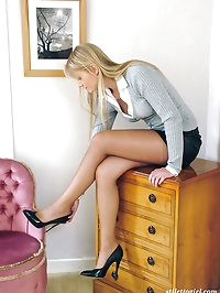 Black high heels look gorgeous on this horny little blonde