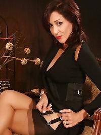 Brunette mom with short hair in stockings